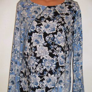 Chicos Zenergy Blue Floral Knit Tunic Top  G16